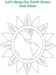 green earth printable coloring page for kids