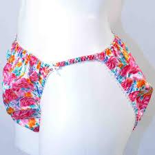 Vanity Fair Hi Cut Panties Vintage Satin Floral Print String High Cut Panties Plus Size 22 24