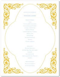 gold wedding programs printable gold wedding program template