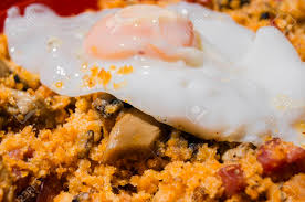 cuisine aragon breadcrumbs and egg typical dish in aragon spain stock photo