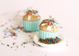sweet earrings miniature food blue earrings cupcake kawaii polymer clay sweet