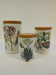 3pc vintage portmeirion pottery botanic garden canister set older