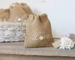 burlap wedding favor bags buttons and burlap sacks set of five rustic wedding