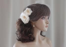 flower hair pins silk organza flowers birdcage veil white off