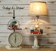 our hopeful home thrift store lamp transformed into vintage thrifted christmas cloche lamp decor air stream ornament