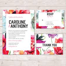 Wedding Invitations And Thank You Cards Watercolour Flower Wedding Invitation Floral Invitation