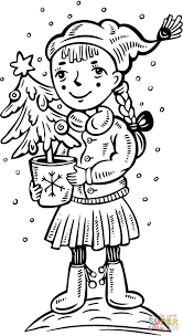 a with a christmas tree coloring page free printable