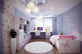 interactive picture of pink and purple girl bedroom decoration using small round furry light pink rug for girl room including light purple white unicorn bedroom wall mural and light purple girl room wall paint