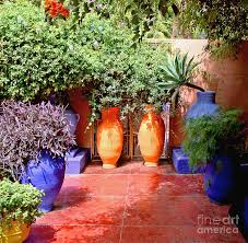 Mexican Patio Ideas by Moroccan Patio Painted Concrete Garden U0026 Lanscaping