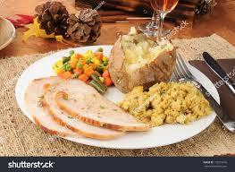 sliced turkey dinner thanksgiving stock photo 110315516