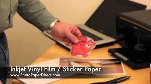 inkjet vinyl film sticker paper by photo paper direct youtube