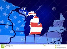Michigans Flag Michigan State Map Usa United States America Flag Stock