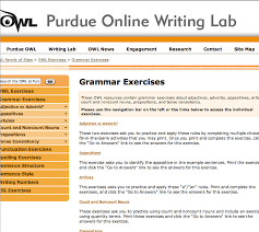 grammar exercises with online writing lab from purdue owl https