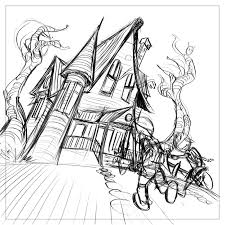 haunted house drawing ideas
