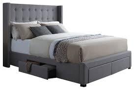 horace wingback king size storage bed transitional platform