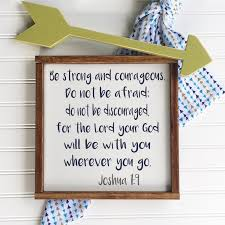 bible verse sign be strong and courageous scripture sign