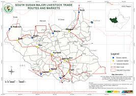 South Sudan Map South Sudan Main Livestock Trade Routes And Markets U2014 Geonode