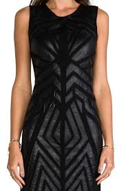 greylin ollie faux leather cut out dress in black in black lyst