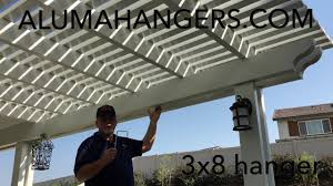 Lattice Pergola Roof by Alumawood Lattice 3x8 Hanger For The Header Beam Youtube