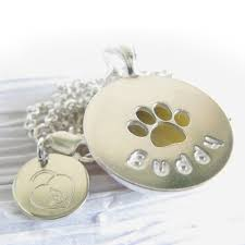 Personalized Paw Print Necklace Rainbow Bridge Pet Memorial Glass Cremation Necklace In Sterling