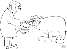 the doctor gives hippopotamus medicine coloring page free
