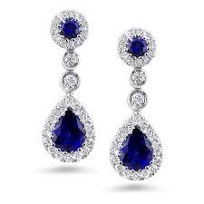 earrings diamond 18k wg sapphire diamond 1 66 carat drop earrings