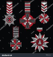 Flag Badges Embroidered Embroidered Patches Accessories Form Cross Stars Stock Vector