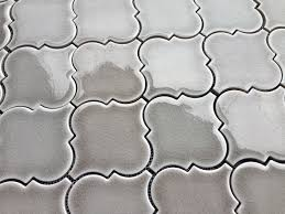 dove gray arabesque glazed ceramic mosaic tile