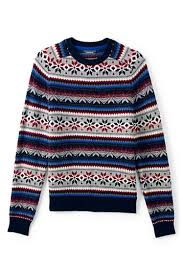 men u0027s lambswool snowflake fairisle crewneck sweater from lands u0027 end