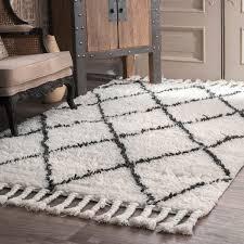 nuloom hand knotted moroccan trellis natural shag wool rug 4 u0027 x 6