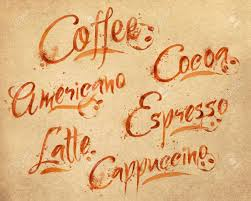 drawn names of different kinds of coffee latte cappuccino