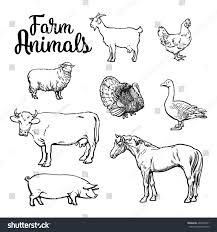 farm animals cow pig chicken goose stock vector 403920271