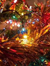 Colored Christmas Lights by Decoration And Colored Lights On Christmas Tree Stock Photo