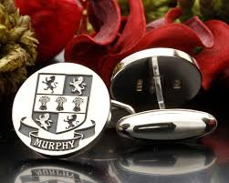 murphy family crest cufflinks sterling silver coat of arms