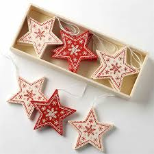 scandi nordic christmas decorations wooden fabric red white