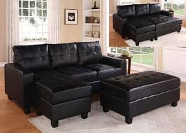 Faux Leather Sectional Sofa With Chaise Black Faux Leather Sectional Sofa With Reversible Chaise And