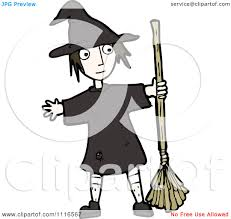 clipart halloween witch holding a broom royalty free vector
