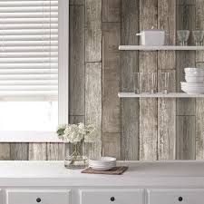 peel and stick wallpaper nu 18 x 20 5 reclaimed wood plank natural wallpaper roll reviews