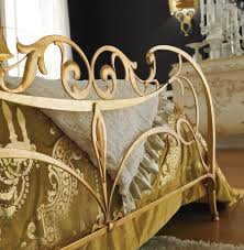 regal home decor interior elegant bed frame furniture in iron material with gold