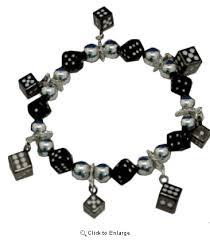 black bead charm bracelet images Black silver dice charm bracelet bunco jewelry gif