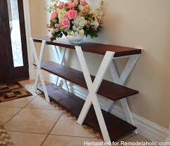 build a console table remodelaholic diy double x console table