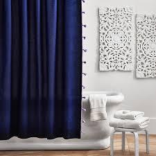 Tassel Curtain Color On Color Tassel Shower Curtain Navy Pbteen