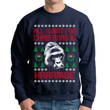 all i want for christmas is harambe ugly christmas sweater