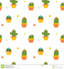cute colorful cactus in the pot seamless pattern background