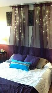 Diy Canopy Bed With Lights Lights Behind Gauze Above Headboard For The Home Pinterest
