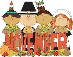 month of november pilgrims and indians month clip