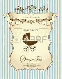 vintage baby shower invitation card with ornate retro