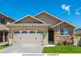 level house contemporary splitlevel house garage front stock photo 449308285