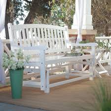 White Wicker Glider Loveseat by Ft Outdoor Patio Glider Chair Loveseat Bench In White Wood Photo