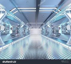 futuristic design spaceship interior with metal floor and light